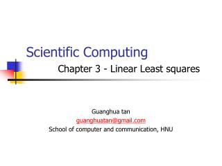Scientific Computing Chapter 3 - Linear Least squares