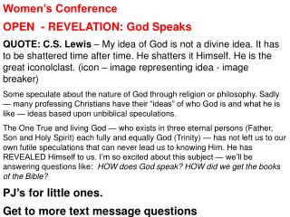 Women's  Conference OPEN   - REVELATION: God Speaks