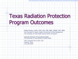 Texas Radiation Protection Program Outcomes