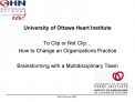 University of Ottawa Heart Institute  To Clip or Not Clip  How to Change an Organizations Practice   Brainstorming with