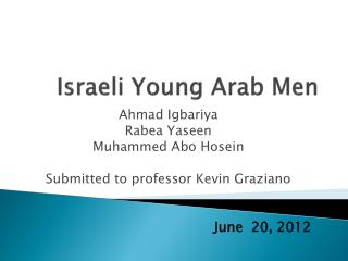 Israeli  Young Arab Men