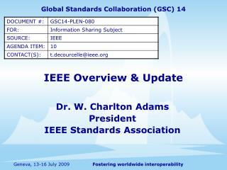 IEEE Overview  Update