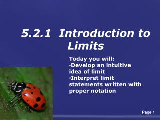 5.2.1   Introduction to  Limits