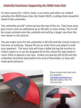 Umbrella Fundraiser Supporting the RHHS Auto Club