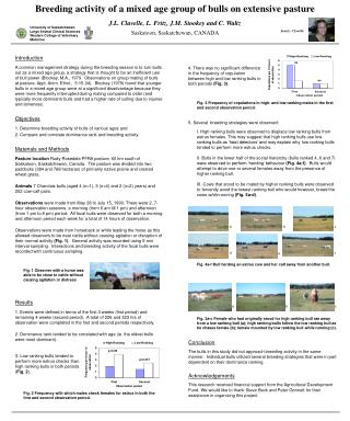 Breeding activity of a mixed age group of bulls on extensive pasture J.L. Clavelle, L. Fritz, J.M. Stookey and C. Waltz