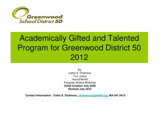 Academically Gifted and Talented Program for Greenwood District  50 2012