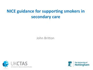 NICE  guidance for supporting smokers in secondary  care