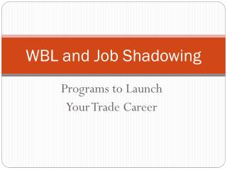 WBL and Job Shadowing