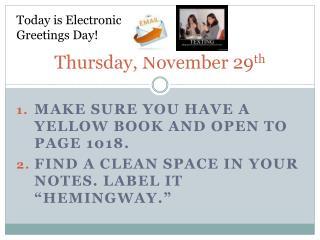 Thursday, November 29 th