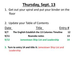 Thursday, Sept. 13