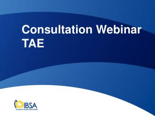 Consultation Webinar  TAE
