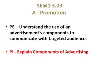 SEM1 3.03 A - Promotion