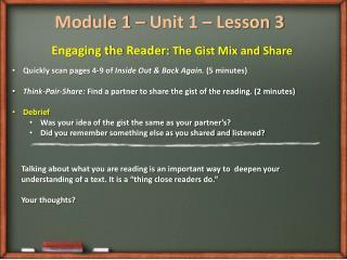 Module 1 – Unit 1 – Lesson 3