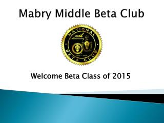 Mabry Middle Beta Club