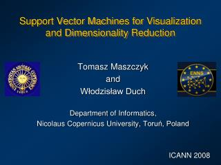 Support Vector Machines  for  Visualization  and  Dimensionality Reduction