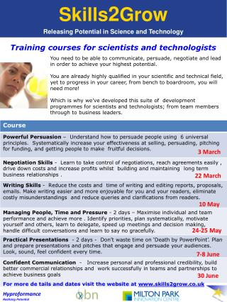 Training courses for scientists and technologists