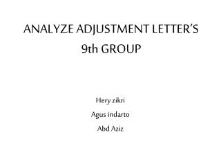 A NALYZE  ADJUSTMENT  LETTER'S 9th GROUP