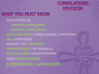 CORRELATIONS REVISION
