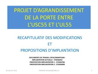 PROJET D�AGRANDISSEMENT DE LA PORTE ENTRE  L�USC55 ET L�UL55