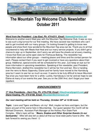 The Mountain Top Welcome Club Newsletter October 2011