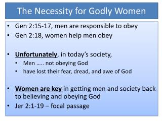 The Necessity for Godly Women