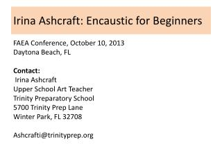 Irina Ashcraft: Encaustic for Beginners