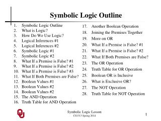 Symbolic Logic Outline