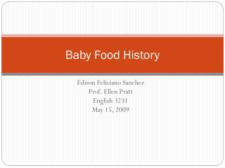 Baby Food History