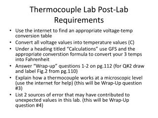 Thermocouple Lab Post-Lab Requirements
