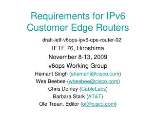 Requirements for IPv6 Customer Edge Routers