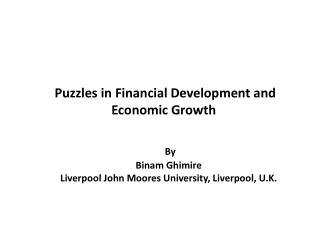 Puzzles in Financial Development and Economic Growth