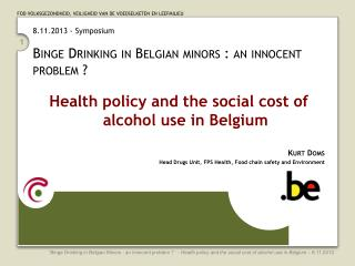 8.11.2013 - Symposium Binge  Drinking in Belgian minors : an innocent problem ?