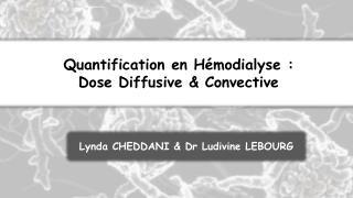Quantification en Hémodialyse :  Dose Diffusive & Convective