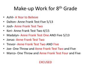 Make-up Work for 8 th  Grade
