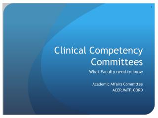 Clinical Competency Committees