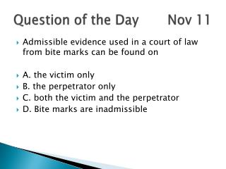 Question of the Day       Nov 11