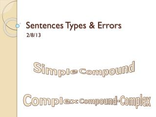 Sentences Types & Errors