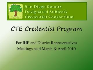 CTE Credential Program