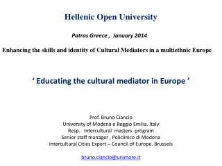 Hellenic  Open  University Patras Greece  ,   January  2014