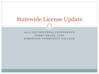 Statewide License Update