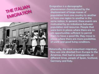 THE  ITALIAN EMIGRATION