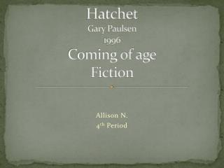 Hatchet Gary Paulsen 1996 Coming of age Fiction