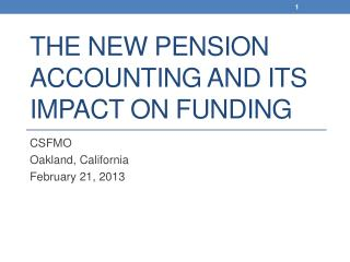 The New Pension Accounting and Its Impact on Funding