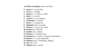 Act Three Vocabulary  Romeo and Juliet amerce  (v.) -to penalize array  (n.) -clothing