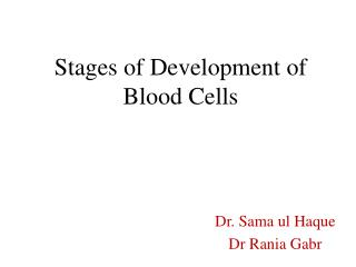 Stages of Development of Blood Cells