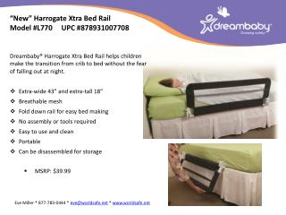 �New�  Harrogate  Xtra Bed Rail Model  # L770      UPC # 878931007708