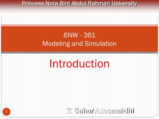 6NW - 361 Modeling and Simulation Introduction