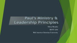 Paul�s Ministry & Leadership Principles