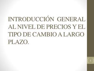 INTRODUCCIÓN  GENERAL AL NIVEL DE PRECIOS Y EL TIPO DE CAMBIO A LARGO PLAZO.