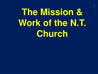 The Mission & Work of the N.T. Church